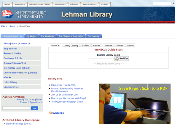 image: library homepage screenshot